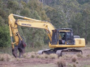 25 ton excavator with log grab and cut off saw